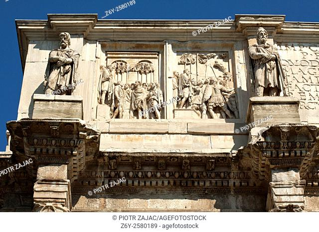 Detail of the Arch of Constantine situated between the Colosseum and the Palatine Hill in Rome, Italy