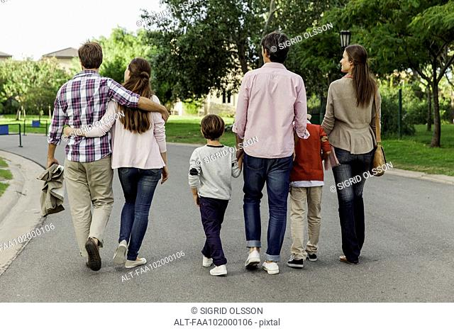 Family walking together in street, rear view