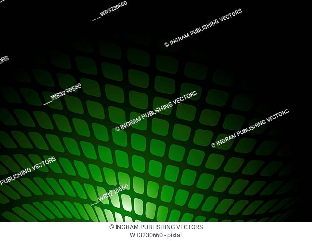 Abstract green and black background with wave pattern