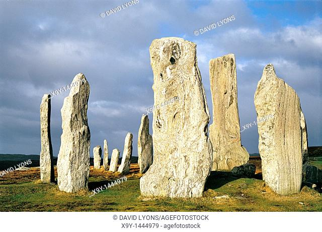 Callanish prehistoric stone circle is over 5000 years old  Scottish Hebrides island of Lewis  Central stones around burial cist