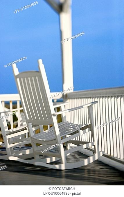 Rocking chairs on porch on Bald Head Island, North Carolina