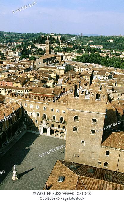 Signori Square from Torre dei Lamberti. Verona. Italy