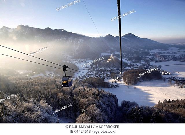 Winter view to Aschau from Kampenwand Bahn cable car, Chiemgau, Upper Bavaria, Germany, Europe