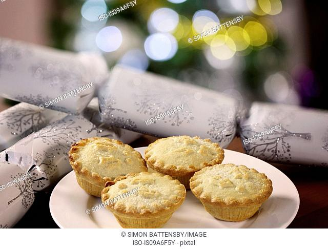 Mince pies on white plate