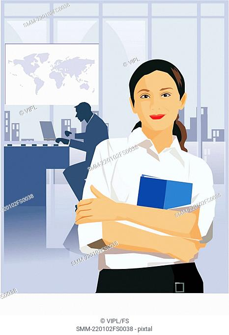 Front view of a businesswoman holding file