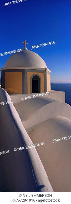 Church dome, Thira Fira, Santorini, Cyclades Islands, Greece