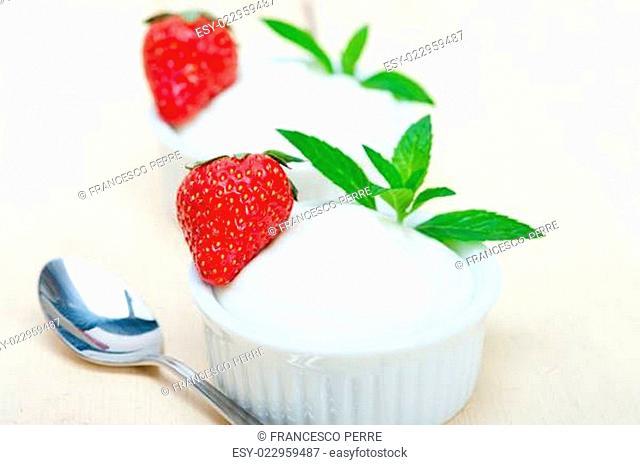 organic Greek yogurt and strawberry