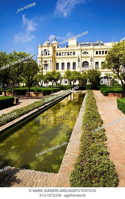 Jardines Alcalde Pedro Ruiz Alonso and the City Hall Malaga Spain