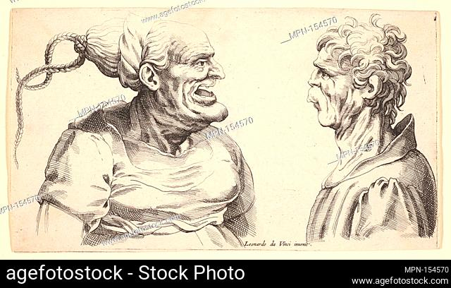Two deformed heads. Artist: Wenceslaus Hollar (Bohemian, Prague 1607-1677 London); Artist: After Leonardo da Vinci (Italian