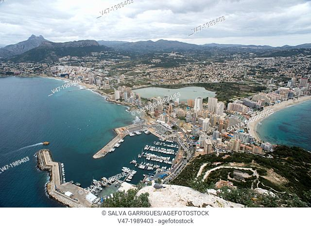 Panoramic view of Calpe from the Ifach, Calpe, Alicante, Spain