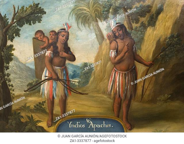 Apache indians. Oil on copper painting. Museum of the Americas, Madrid, Spain