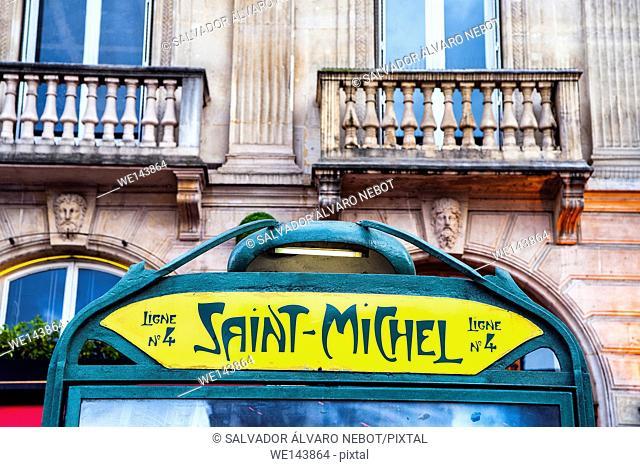Saint-Michel metro station. Paris, France