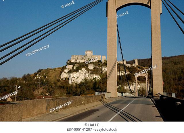 France, suspension bridge of Les Andelys in Normandie