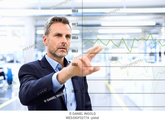 Businessman looking at graph on glass pane in factory hall