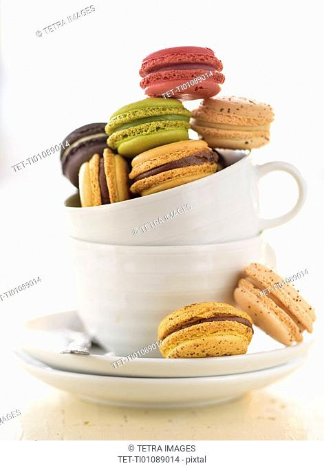 Macaroons in coffee cup
