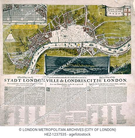 Map of London, 1666; with the title on a banner flanked by the City of London and royal arms, a numbered key in Dutch and a view of the Great Fire of London