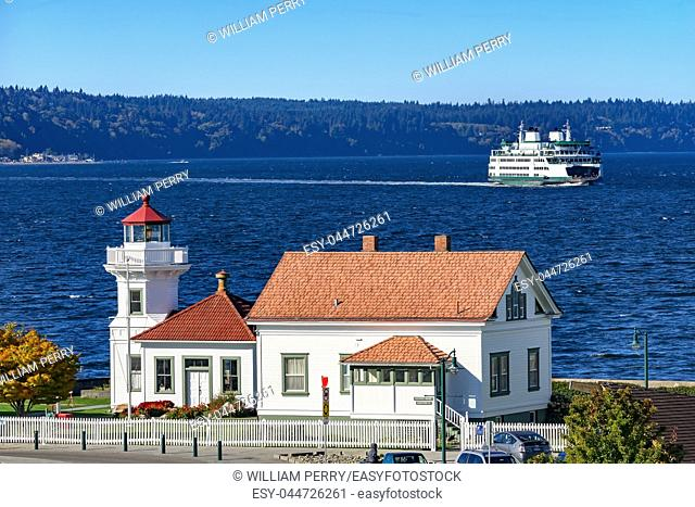 Mukilteo Lighthouse Whidbey Island Ferry Puget Sound Mukilteo Snohomish County Washington Pacific Northwest. Operational in 1906