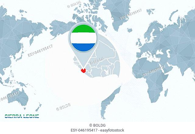 World map centered on America with magnified Sierra Leone. Blue flag and map of Sierra Leone. Abstract vector illustration