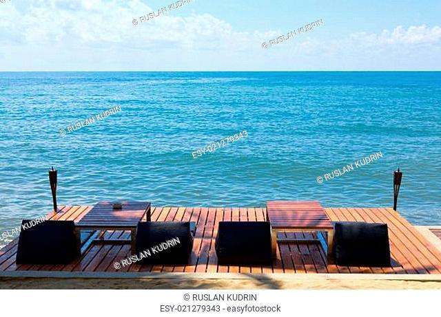 sun beds for sun on the wooden floor