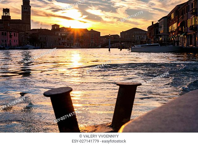 travel to Italy - sunset over canal in Venice city
