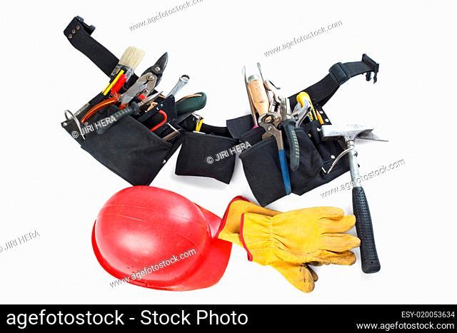 tools belt , helmet and leather glove