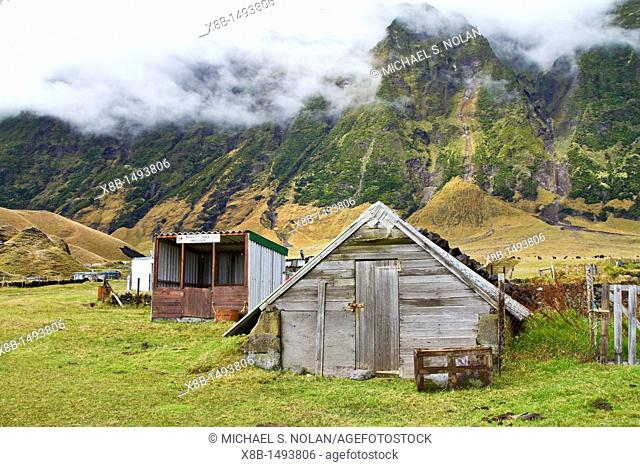 View of 'the potato patch' on Tristan da Cunha, 'the most remote inhabited location on Earth', South Atlantic Ocean  MORE INFO The Tristan da Cunha Island Group...