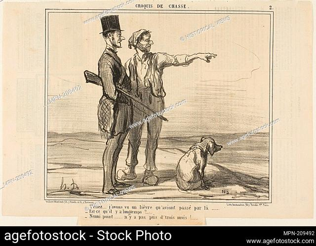 """""""- Listen. I saw a hare over there. - Was that a long time ago? - Not at all. it was less than three months ago.,"""" plate 2 from Croquis De Chasse - 1857 -..."""
