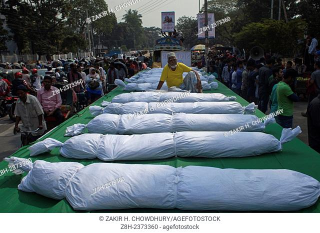 Protested against political violence with symbolic dead body.Various organisations protest against political violence as the BNP blockade continues into it's...