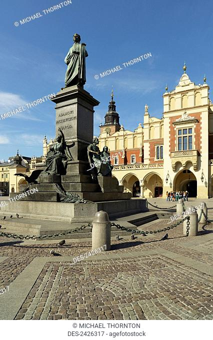 Adam Mickiewicz Monument and Cloth Hall, Old Town Market Square; Krakow, Poland