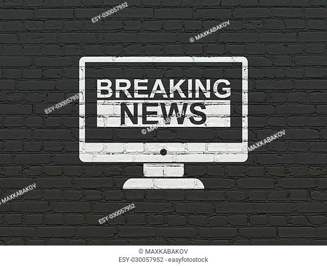 News concept: Painted white Breaking News On Screen icon on Black Brick wall background