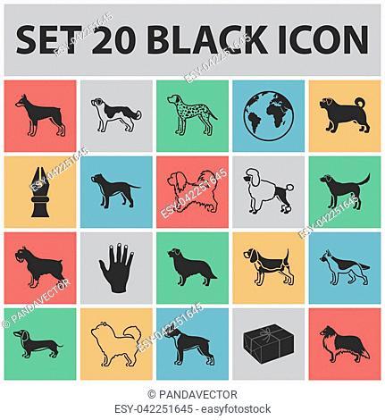 Dog breeds black icons in set collection for design.Dog pet bitmap symbol stock illustration