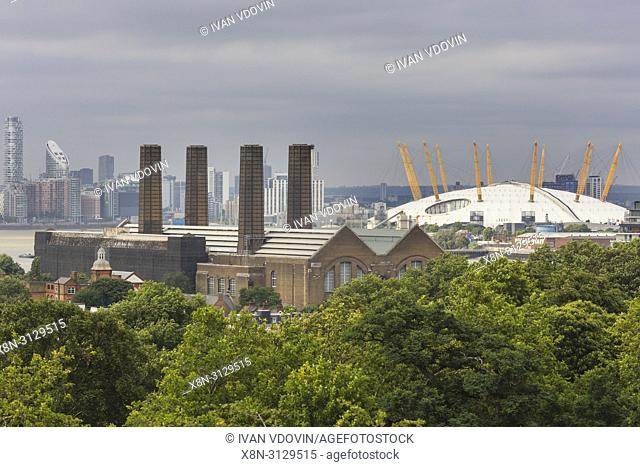 O2 Arena, cityscape from Greenwich hill, Greenwich, London, England, UK