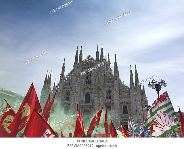 Italy, Lombardy Milan, Piazza Duomo, Duomo Square, Trade Union Manifestation. . . .