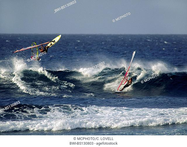 windsufers demonstrate great skill at HOOKIPA BEACH PARK, Hawaii, Maui