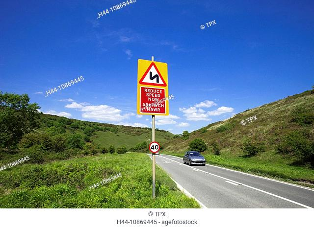 Wales, Glamorgan, Bilingual Road Sign