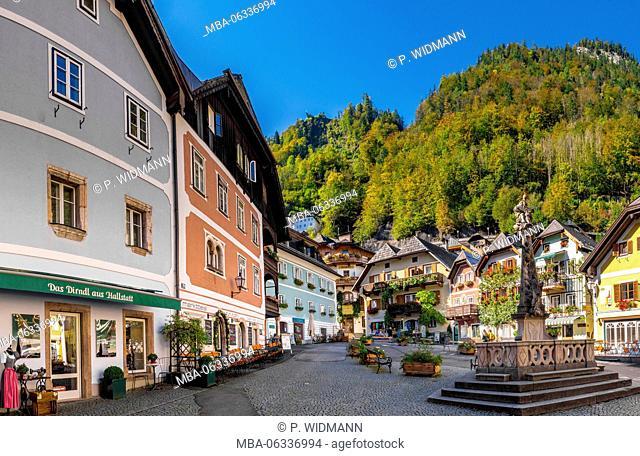 Wells on the marketplace in Hallstatt, Upper Austria, Austria, Europe