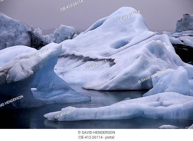 Blue iceberg formations, Jokulsarlon, Iceland