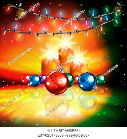 Abstract sunrise background with Christmas lights and candles