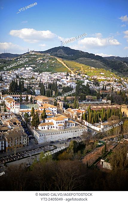 Views of Granada from Nasrid Palaces at The Alhambra, palace and fortress complex located in Granada, Andalusia, Spain