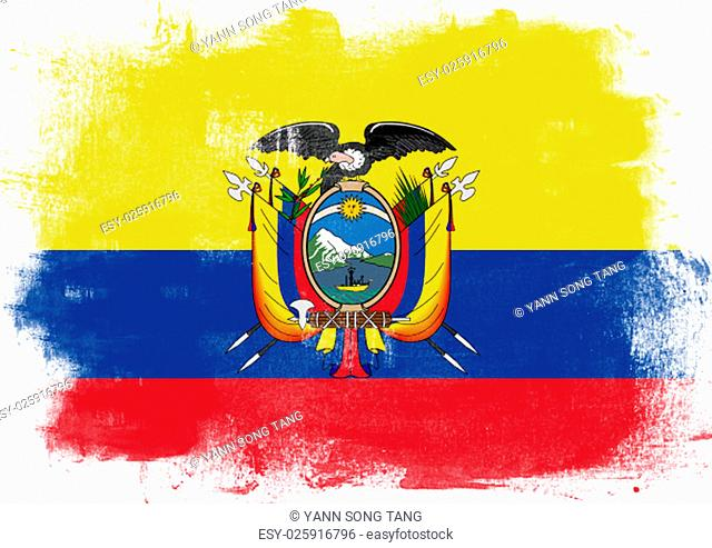Flag of Ecuador painted with brush on solid background