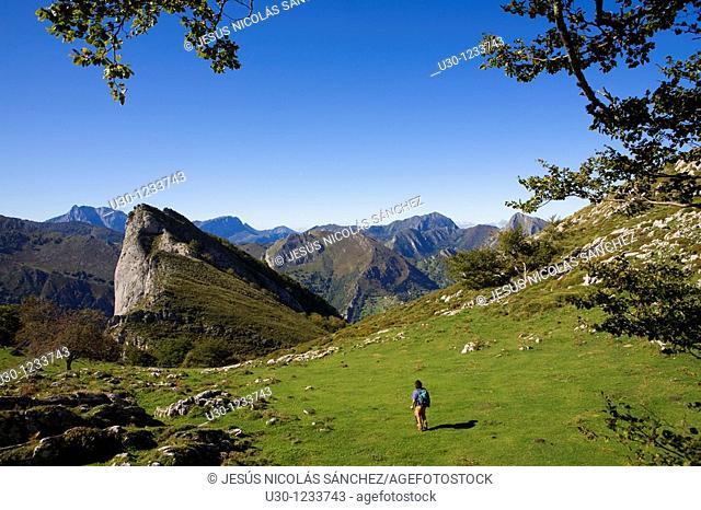 People practice mountaineering in the Cornion massif, in the Picos de Europa National Park, Sajambre Valley, Leon, Castilla y Leon  Spain