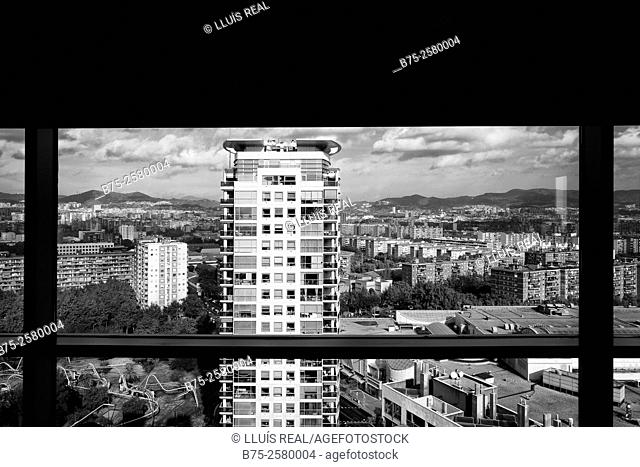 View of a residential building through a window in Diagonal Mar, Barcelona, Catalonia, Spain, Europe