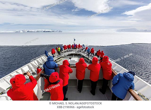 Approaching first year hold fast ice aboard the National Geographic Explorer in Duse Bay, Weddell Sea, Antarctica