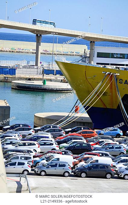 Cars waiting for board. Harbour, Barcelona, Catalonia, Spain
