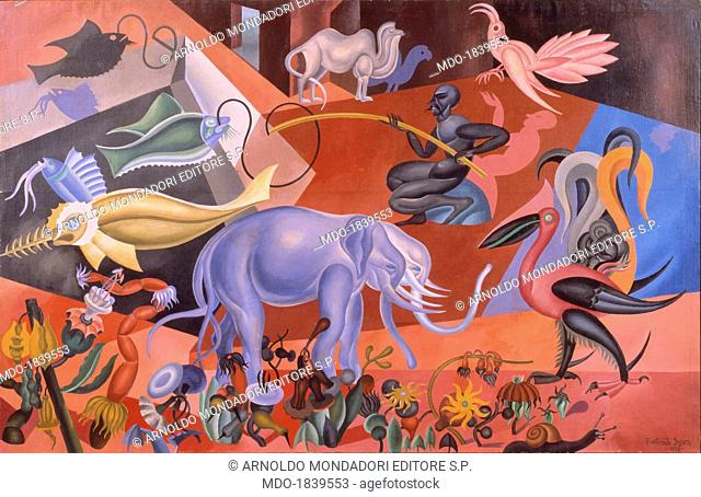 Magic Flora and Fauna or Pale Blue Elephant (Flora e fauna magica o Elefante azzurro), by Fortunato Depero, 1920, 20th Century, oil on canvas