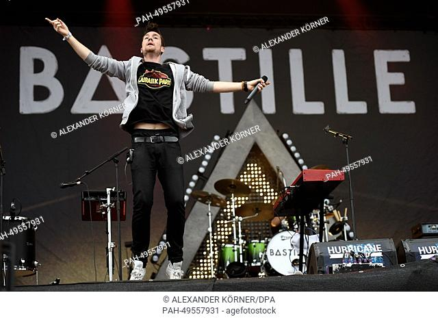 The British pop band Bastille and frontman Dan Smith perform at the Hurricane rock festival in Scheessel, Germany, 21 June 2014