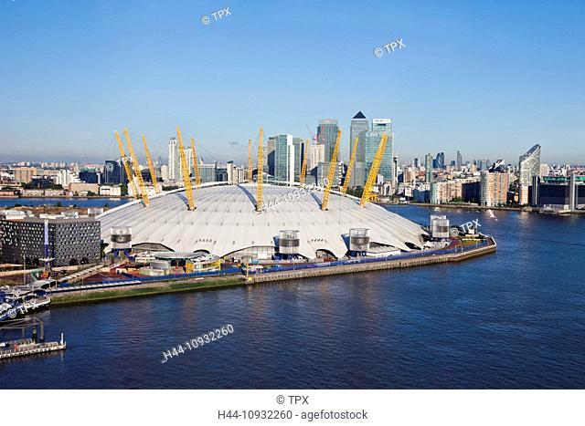 England, London, O2 Arena and Docklands Skyline