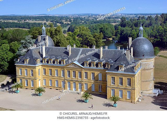 France, Saone et Loire, Palinges, the castle of Digoine (aerial view)