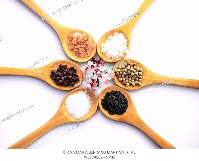 Wooden spoons with himalayan salt, black hawaii salt, common salt, salt flakes and peppercorns on a white background