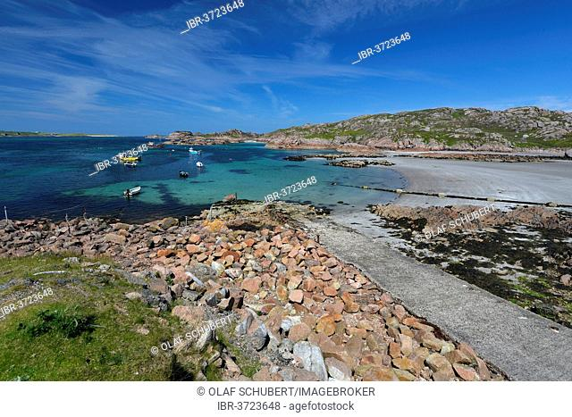 Bay and harbour of Fionnphort, Argyll, Scotland, Isle of Mull, United Kingdom